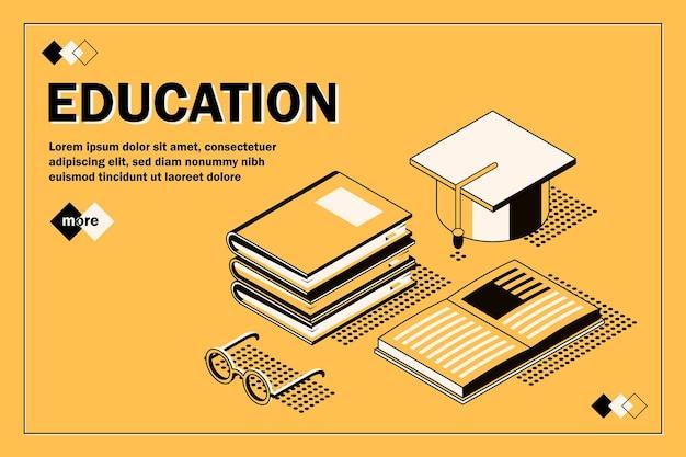 Concetto isometrico di design piatto moderno di educazione per banner e sito web torna al concetto di scuola