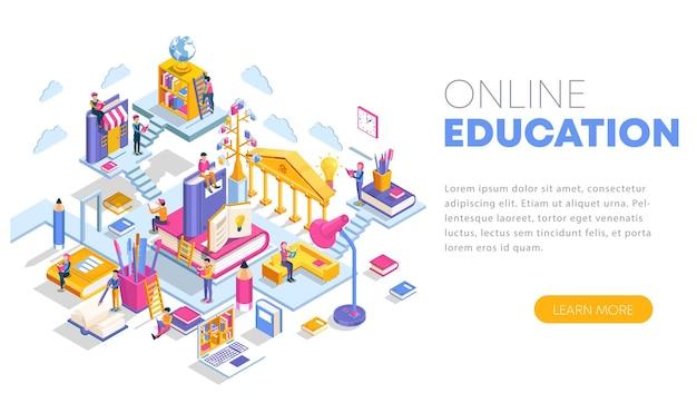 Concetto isometrico moderno design piatto del modello di pagina di destinazione dell'istruzione online