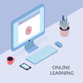 Concetto isometrico moderno design piatto di formazione online per sito web e sito web mobile