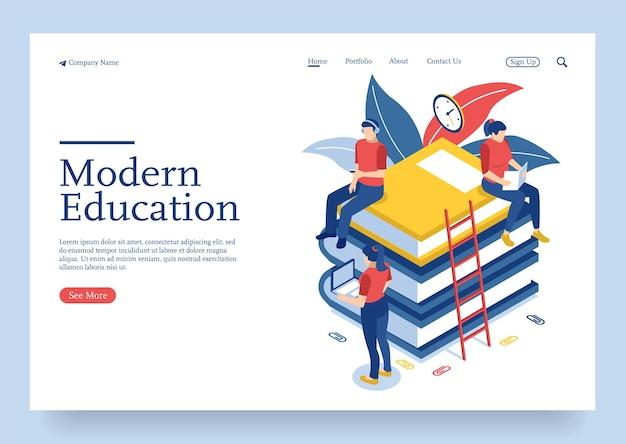 Concetto isometrico moderno design piatto di formazione online con personaggi studenti Vettore Premium