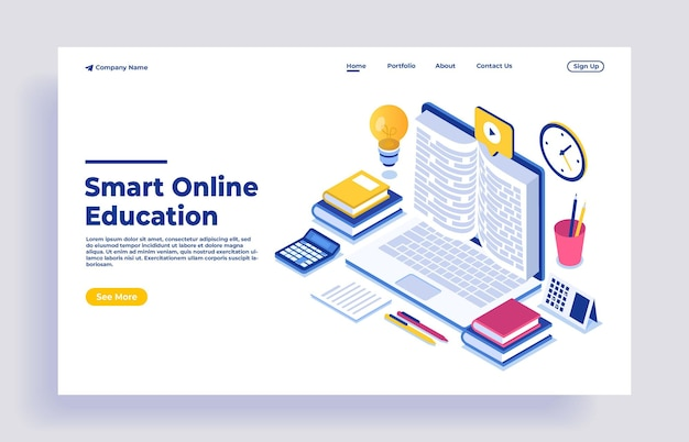 Concetto isometrico di design piatto moderno dell'istruzione online Vettore Premium