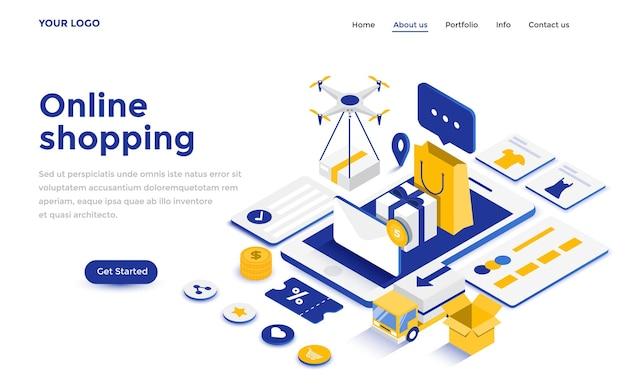 Concetto isometrico moderno design piatto di shopping online per sito web e sito web mobile. modello di pagina di destinazione. facile da modificare e personalizzare. illustrazione vettoriale