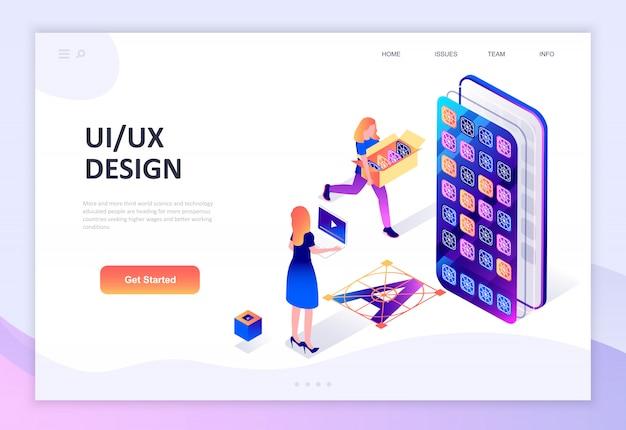Concetto isometrico moderno design piatto di ux, ui design