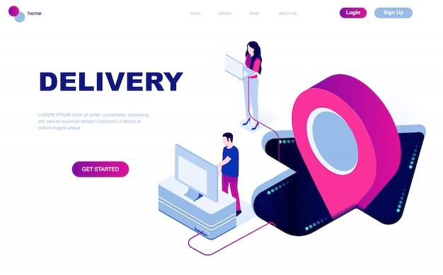 Concetto isometrico moderno design piatto di consegna in tutto il mondo