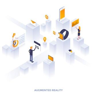 Illustrazione isometrica di design piatto moderno della realtà aumentata. può essere utilizzato per il sito web e il sito web mobile o la pagina di destinazione. facile da modificare e personalizzare. illustrazione vettoriale