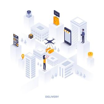 Illustrazione isometrica di design piatto moderno della consegna. può essere utilizzato per il sito web e il sito web mobile o la pagina di destinazione. facile da modificare e personalizzare. illustrazione vettoriale