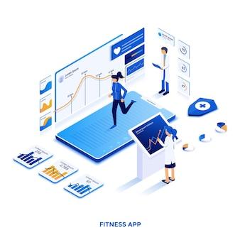 Illustrazione isometrica moderna design piatto dell'app fitness