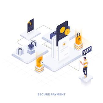 Illustrazione isometrica moderna design piatto di pagamento sicuro
