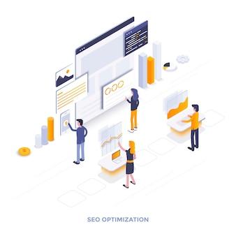 Illustrazione isometrica di design piatto moderno dell'ottimizzazione seo. può essere utilizzato per il sito web e il sito web mobile o la pagina di destinazione. facile da modificare e personalizzare. illustrazione vettoriale