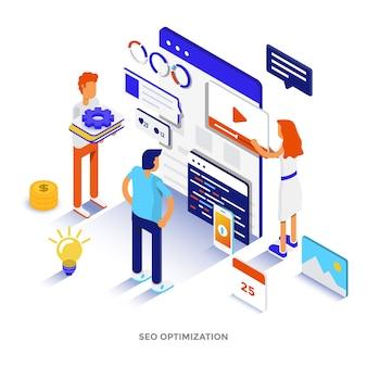 Illustrazione isometrica moderna design piatto di ottimizzazione seo. può essere utilizzato per il sito web e il sito web mobile o la pagina di destinazione. facile da modificare e personalizzare. illustrazione vettoriale