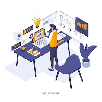 Illustrazione isometrica moderna design piatto di soluzioni