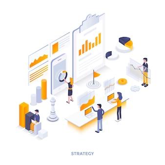 Illustrazione isometrica di design piatto moderno della strategia. può essere utilizzato per il sito web e il sito web mobile o la pagina di destinazione. facile da modificare e personalizzare. illustrazione vettoriale
