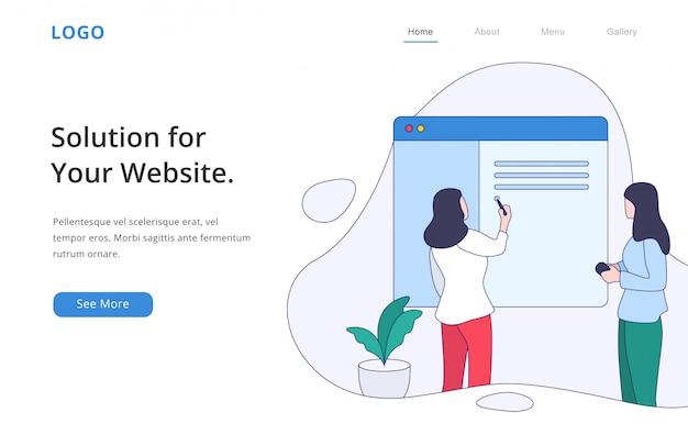 Pagina di destinazione dello sviluppatore web moderno di design piatto
