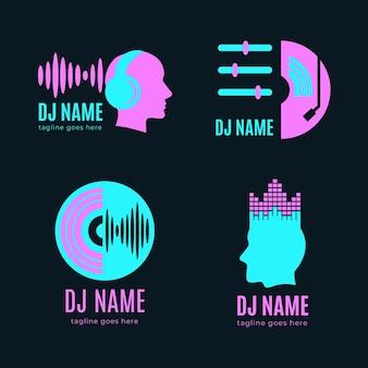 Collezione di logo dj piatto moderno