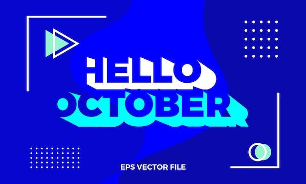 Logo e sfondo di piatto moderno ciao ottobre
