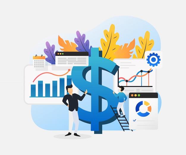 Illustrazione piana moderna di investimento aziendale. Vettore Premium