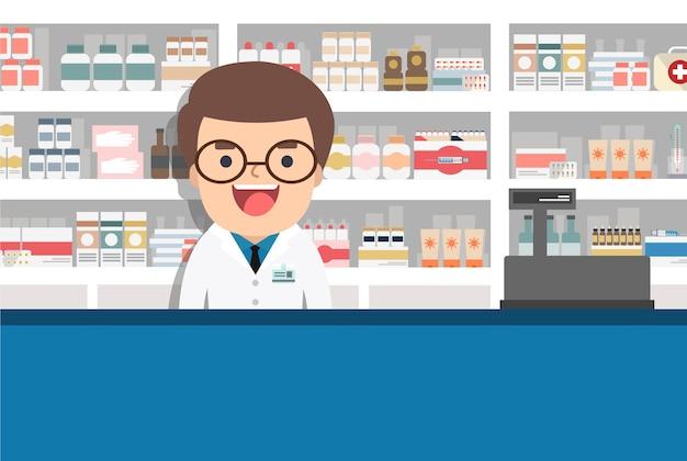 Illustrazione piana moderna di un farmacista maschio presso la farmacia di fronte a scaffali con farmaci.