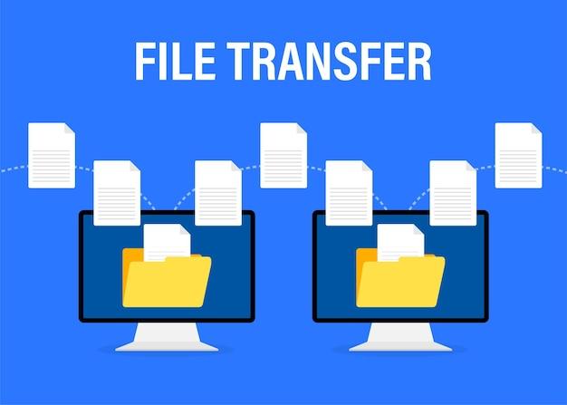 Illustrazione piatta moderna con trasferimento di file su bianco