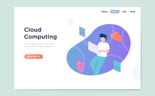 Moderna pagina di destinazione piatta del servizio di cloud computing