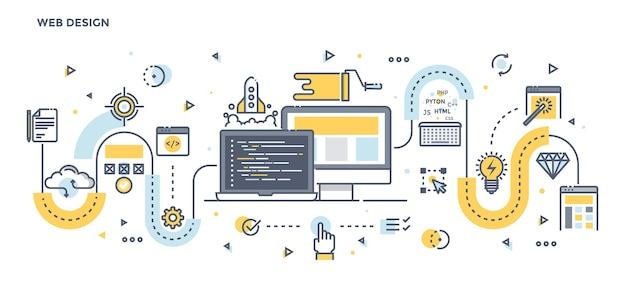 Moderna linea piatta illustrazione a colori concetto di web design