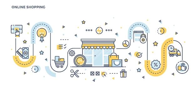Moderna linea piatta illustrazione a colori dello shopping online