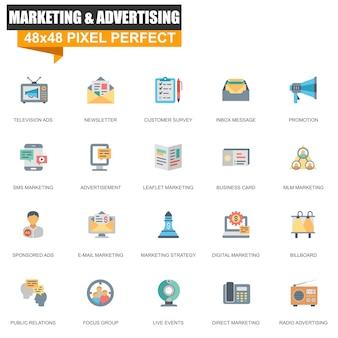 Set di icone di marketing e pubblicità piatte moderne
