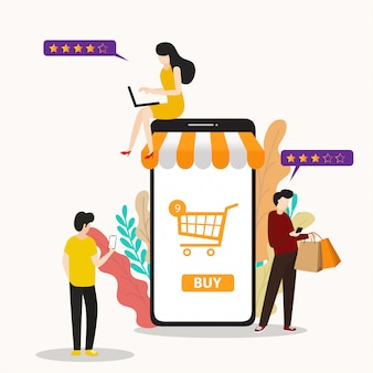 Persone piatte moderne e business for m-commerce, facili da usare e altamente personalizzabili.