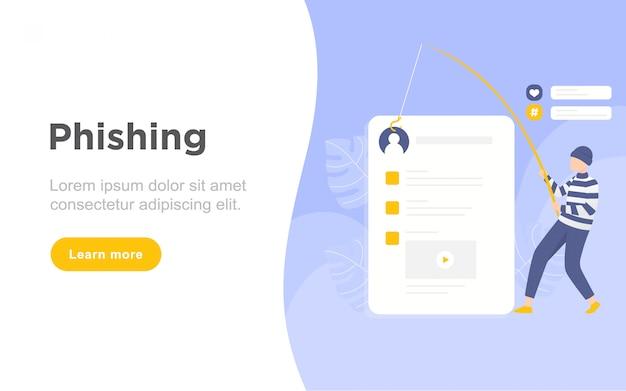 Illustrazione piana moderna della pagina di atterraggio di phishing
