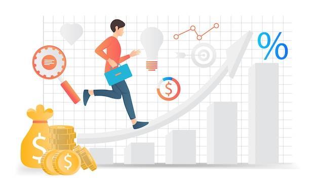 Illustrazione moderna in stile piatto sull'analisi aziendale di un uomo che corre sulle frecce