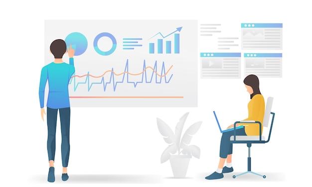 Illustrazione moderna in stile piatto sull'analisi dei dati aziendali con i caratteri