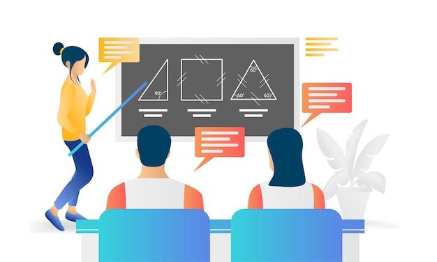 Illustrazione moderna in stile piatto sull'educazione di un insegnante che insegna ai suoi studenti in classe