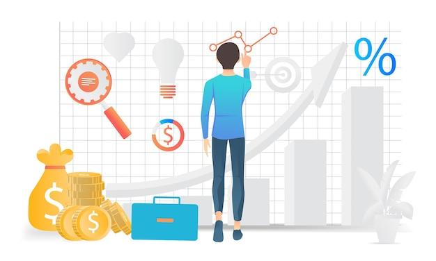 Illustrazione moderna in stile piatto dell'analisi aziendale di un uomo