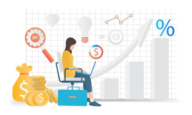 Moderna illustrazione in stile piatto dell'analisi aziendale di una donna seduta con il suo laptop
