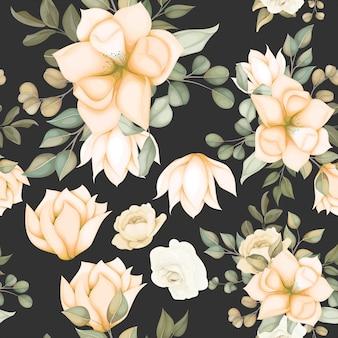 Modello senza cuciture floreale moderno con fiori morbidi