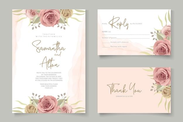 Concetto floreale moderno della carta di nozze