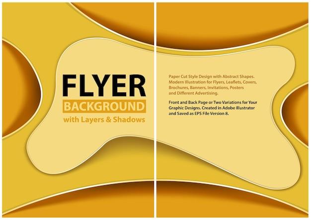 Design moderno in stile carta tagliata per volantini con strati gialli
