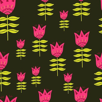 Modello di arte popolare moderna. fiore rosa. stile nordico. carta da parati floreale della natura. per il design del tessuto, la stampa tessile, il confezionamento, la copertura. illustrazione vettoriale semplice.