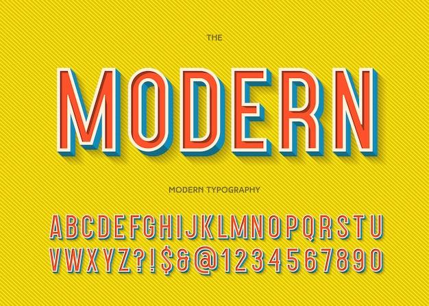 Carattere moderno tipografia 3d stile colorato per poster di festa
