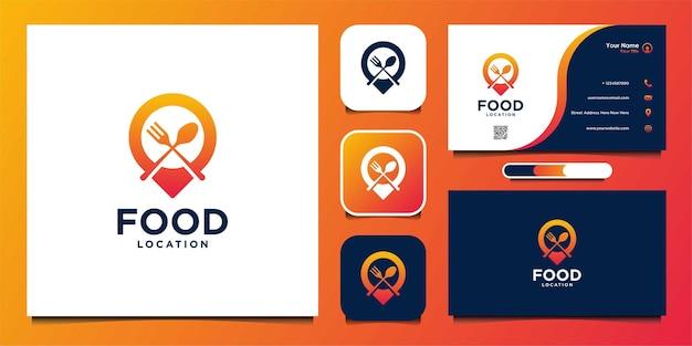 Design del logo e biglietto da visita della posizione del cibo moderno