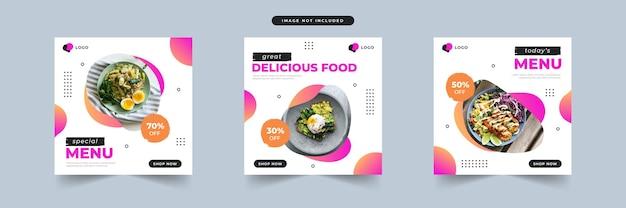 Promozione dei social media di cibo moderno e modello di progettazione di banner post
