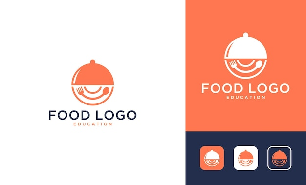 Cibo moderno con logo design posate