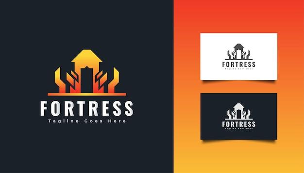 Modello di progettazione di logo di fortezza moderna. logo del castello. logo immobiliare