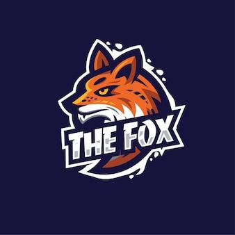 Modello di logo di fox esport moderno