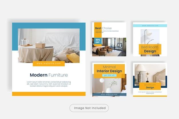 Set di banner modello post social media design moderno per mobili.