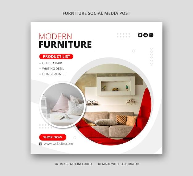 Modello di post instagram di social media di mobili moderni