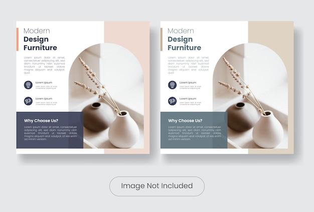 Set di modelli di banner post social media mobili moderni furniture