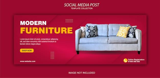 Raccolta di post sui social media di mobili moderni Vettore Premium