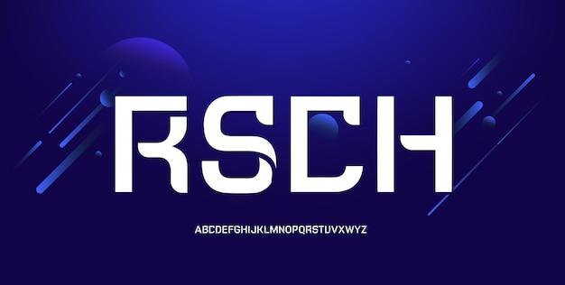 Moderno alfabeto futuristico. carattere tipografico tipografico di carattere geometrico urbano astratto