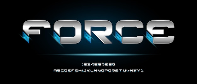 Carattere alfabeto futuristico moderno. caratteri tipografici in stile urbano per tecnologia, digitale, film, design del logo