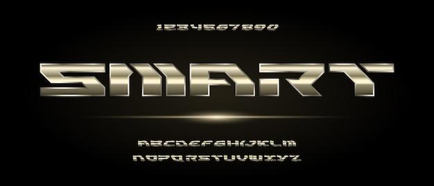 Stile urbano moderno di tipografia del carattere di alfabeto futuristico per la progettazione di logo di film digitale di tecnologia